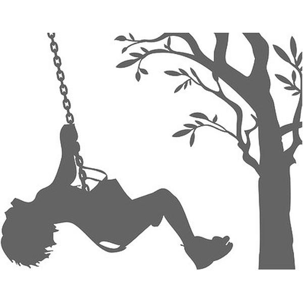 600x600 Children On Swings Wall Sticker