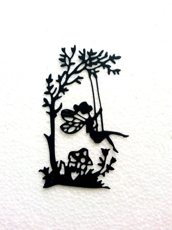 570x760 Fairy Silhouette On Swing Paper Die Cut. Scrapbook,card Making