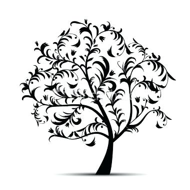 380x379 Pine Tree Outline With Roots Cedar Tree Silhouette With Roots
