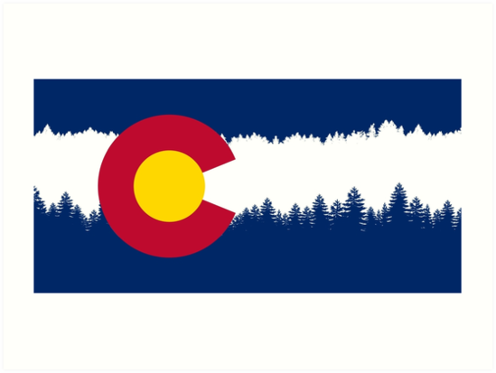 549x413 Colorado Flag Treeline Silhouette Art Prints By Freeformations