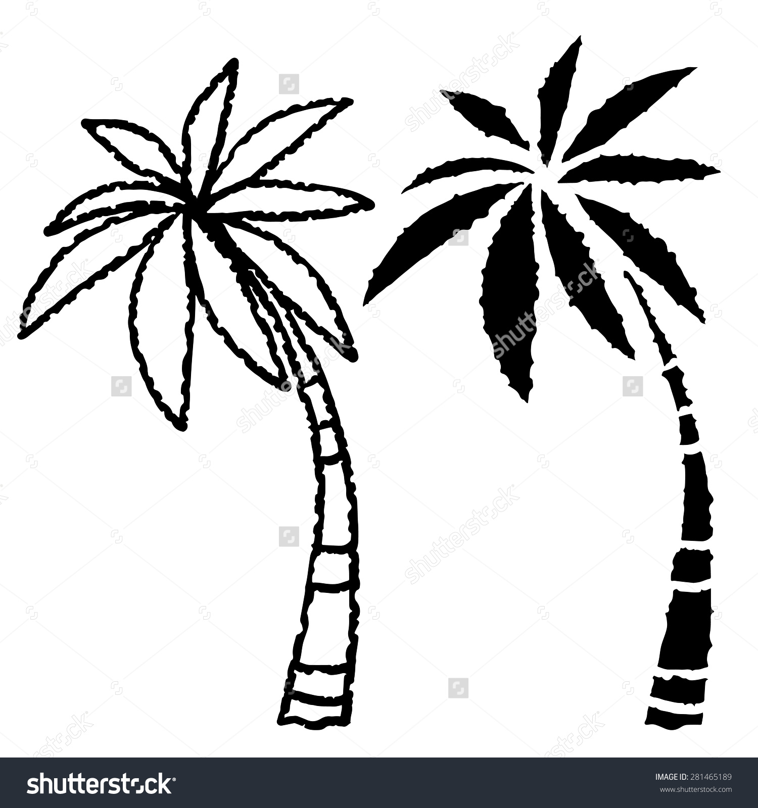 1500x1600 Palm Tree Line Drawing Coconut Palm Trees Line Black Silhouette