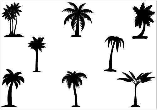 500x350 Palm Tree Silhouette Vector Pack Silhouette Clip Art