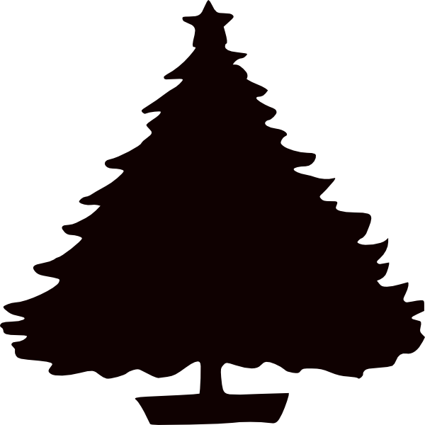 600x600 Black Christmas Tree Silhouette Clip Art