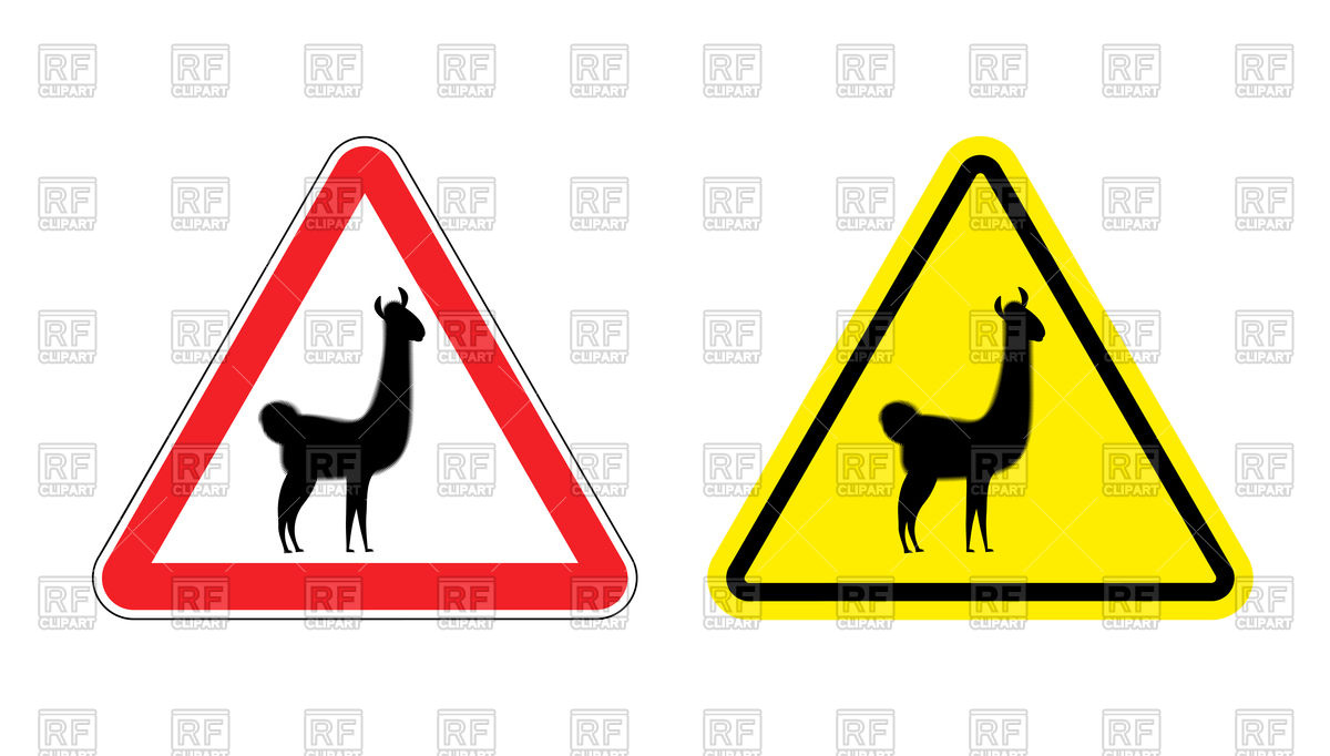 1200x682 Red And Yellow Triangular Attention Sign With Silhouette Of Lama