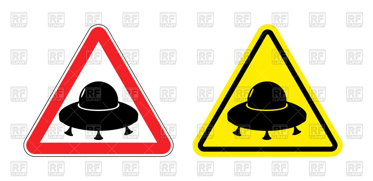 1200x584 Triangular Warning Sign With Silhouette Of Ufo Royalty Free Vector