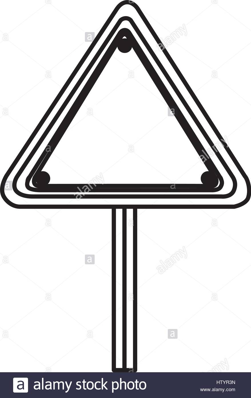 878x1390 Silhouette Triangle Shape Traffic Sign With Base Pole Stock Vector