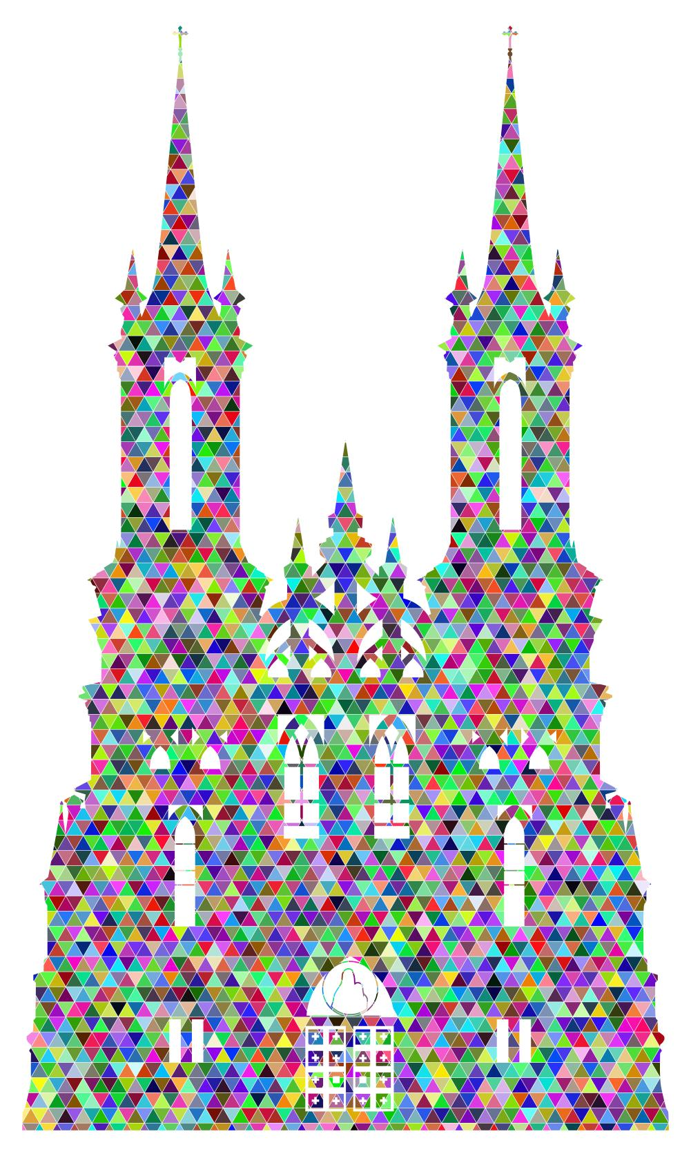 1001x1674 Prismatic Triangular Mosaic Gothic Castle Silhouette Clipart