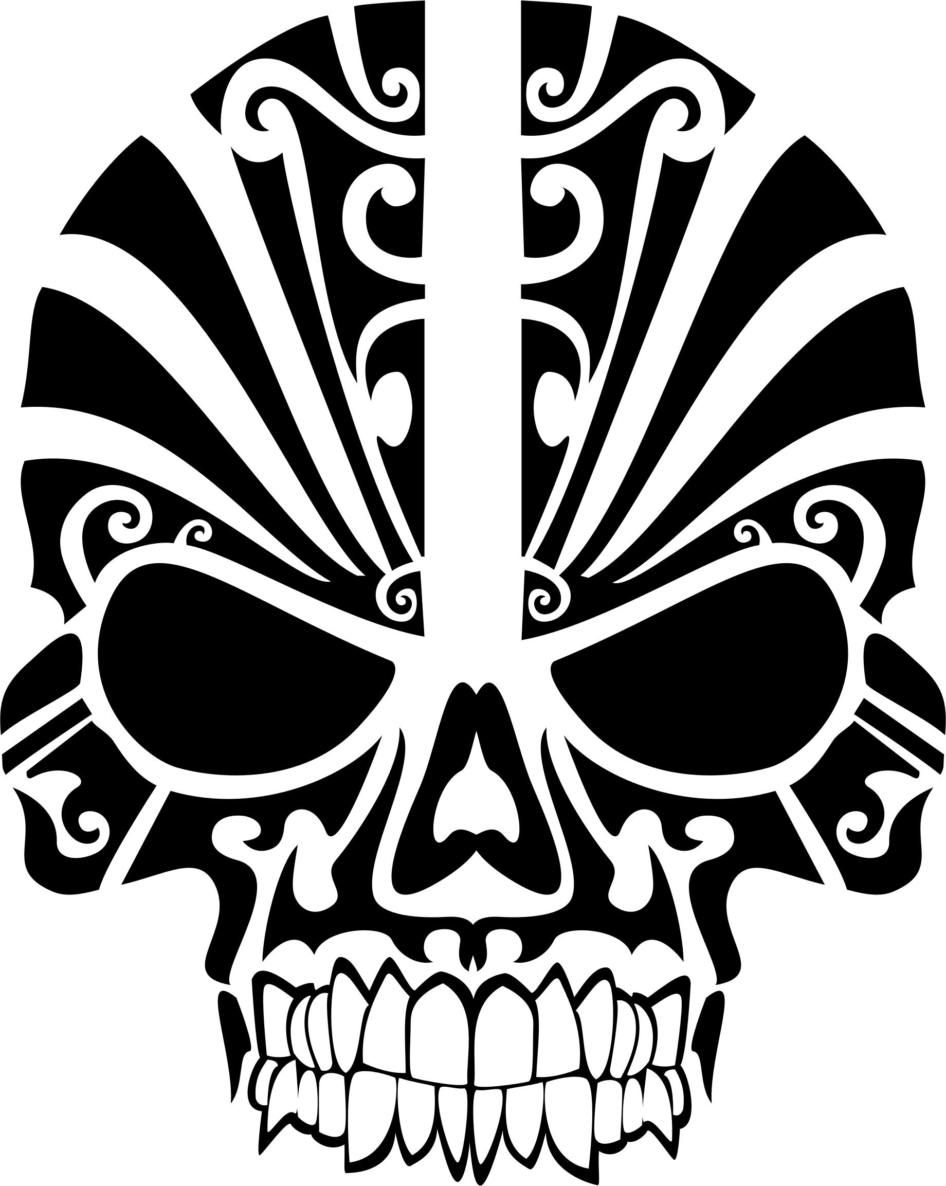 1840x2306 Tribal Skull Silhouette 2 Icons Png
