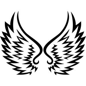 300x300 Tribal Angel Wings Silhouette Design, Angel Wings And Silhouette
