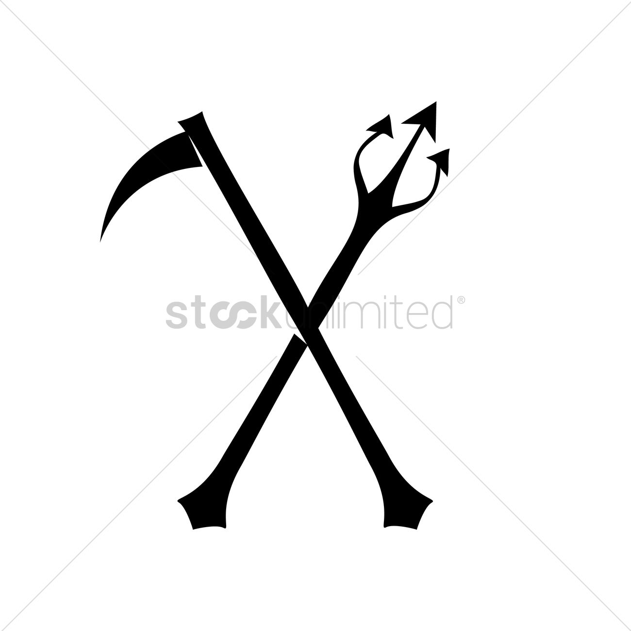 1300x1300 Scythe And Trident Vector Image