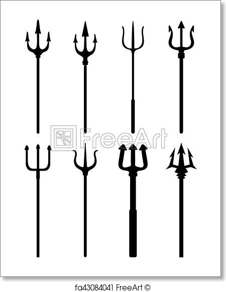 450x580 Free Art Print Of Silhouettes Of Trident. Set Of Black Silhouettes