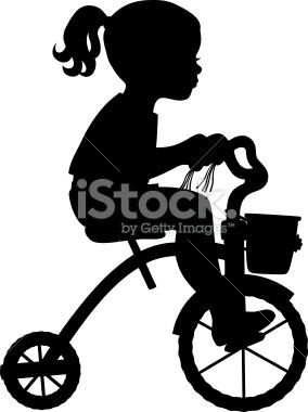 284x380 Silhouette Of Girl Riding A Tricycle. Silhouettes, Cricut