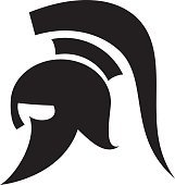 161x170 Spartan Trojan Mascot With Spear And Shield Vector Illustration