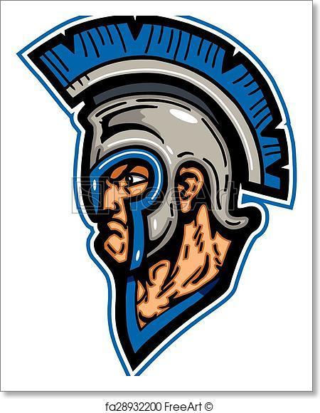 450x580 Free Art Print Of Trojan Mascot Head. Trojan Mascot Head Wearing