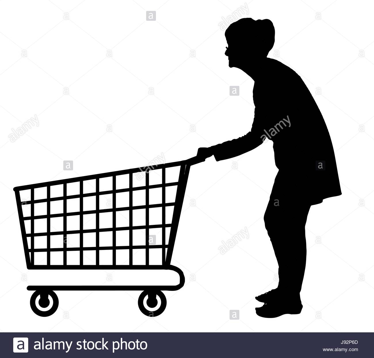 1300x1242 Silhouette Of An Elderly Woman Pushing Empty Shopping Trolley
