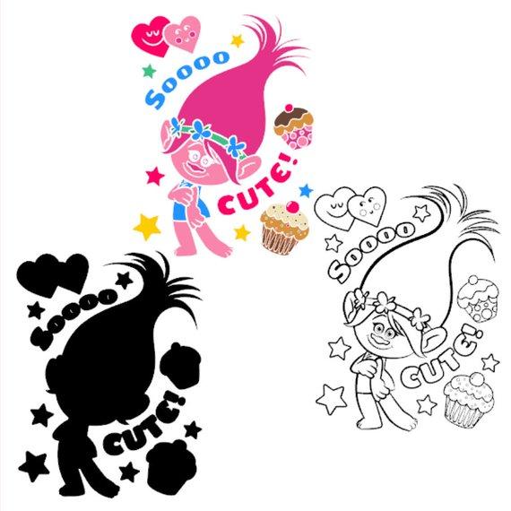 570x570 Trolls Poppy Clip Art Layered Svg Dxf Png Eps Vector Cut Files