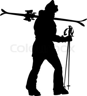 290x320 Collection Of Silhouettes Of Skiers Stock Vector Colourbox
