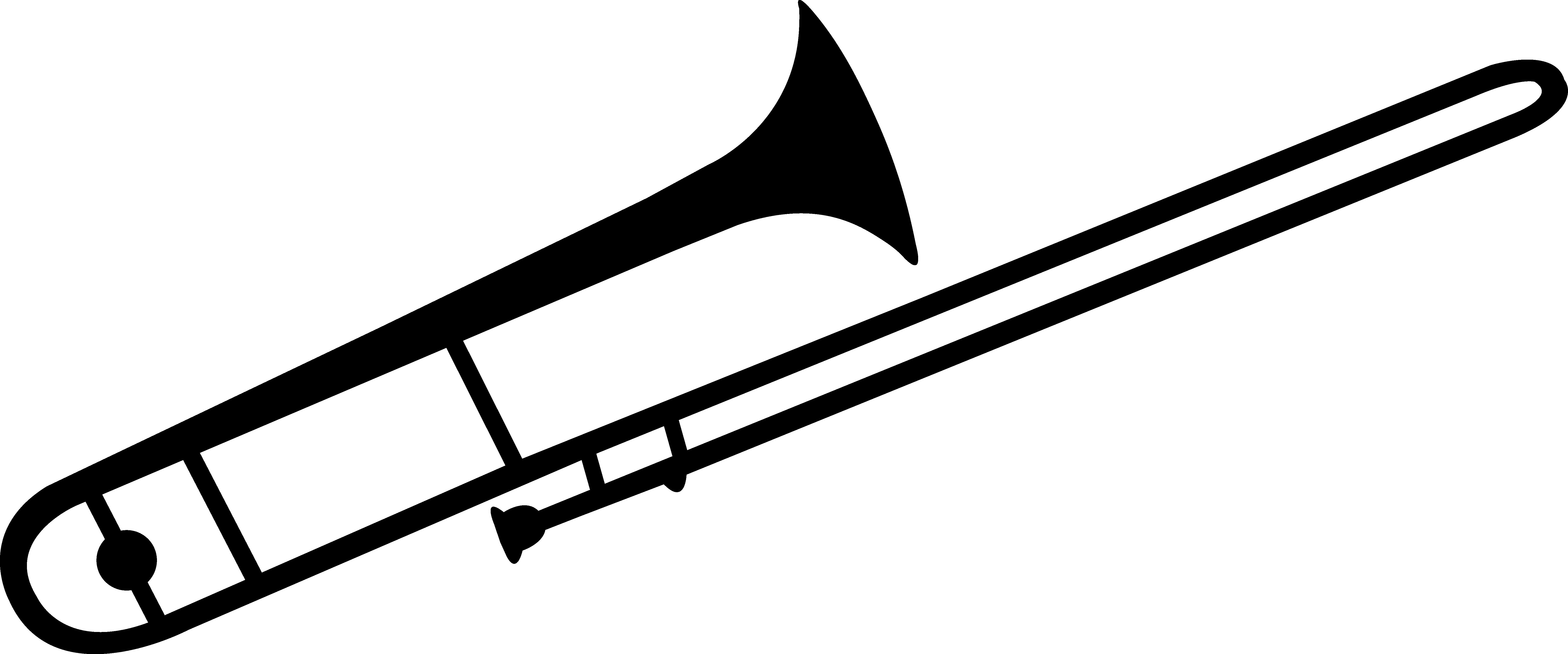 7043x2938 Black Trombone Silhouette