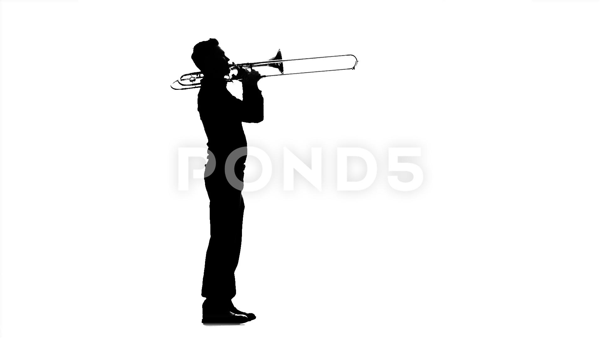 1920x1080 Video Musician Man Playing On Trombone. Black Silhouette On White