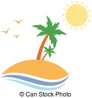 183x194 Illustration Tropical Island With Palm Trees Silhouette Eps