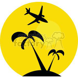 300x300 Royalty Free Airplane Flying Over Tropical Island 379680 Vector