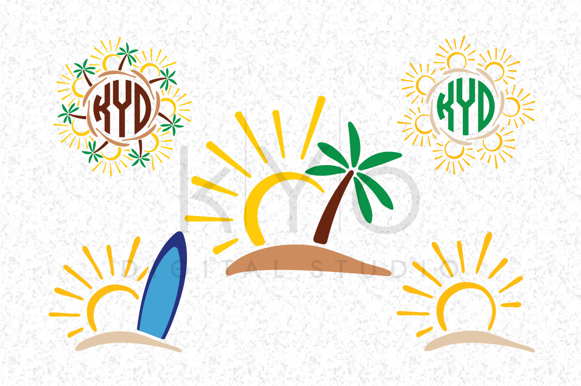 1160x772 Sun Tropical Island Surf Palm Tree Summer Monogram Svg Dxf Png Eps