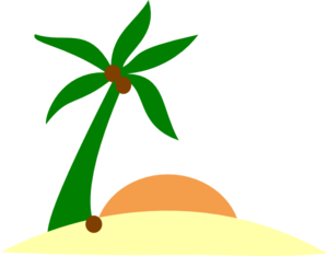 300x234 Sunset Island Clipart Image Silhouette Of Palm Trees On A Tropical