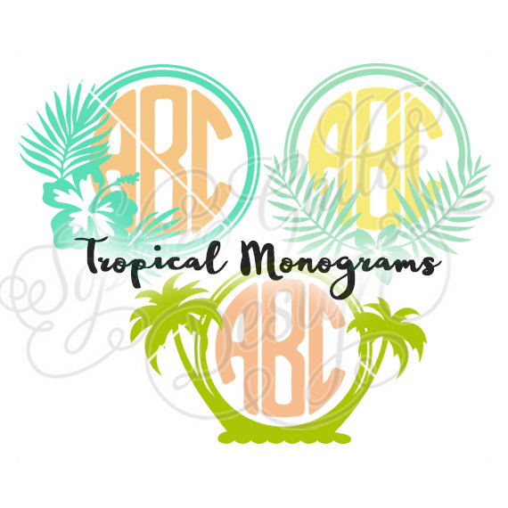 570x570 Tropical Island Monograms Svg Dxf Png Digital Download File