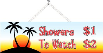 355x185 Buy Tropical Island Shower Price List Funny Sign With Beach Sunset