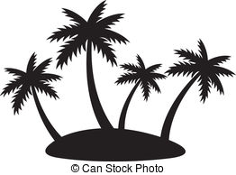 262x194 Illustration Tropical Island Four Palms Vector Clip Art Eps Images
