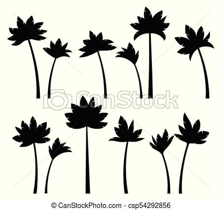 450x424 Set Tropical Palm Trees Set Tropical Palm Trees, Black