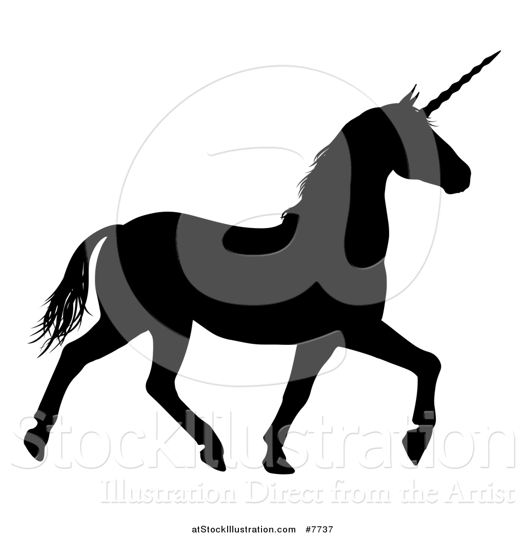 1024x1044 Vector Illustration Of A Black Silhouetted Unicorn Horse Trotting