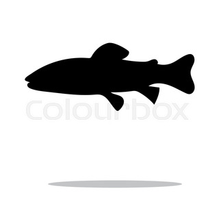 320x320 Illustration Of Trout Fish Swimming Silhouette Done In Retro Style