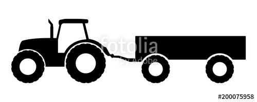 500x200 Silhouette Of A Tractor With A Trailer. Stock Image And Royalty