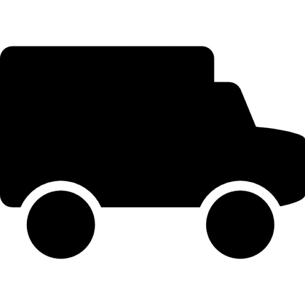 626x626 Small Truck Black Side View Silhouette Icons Free Download