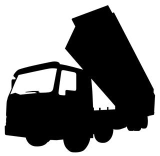 320x312 Dump Truck Silhouette 4 Decal Sticker