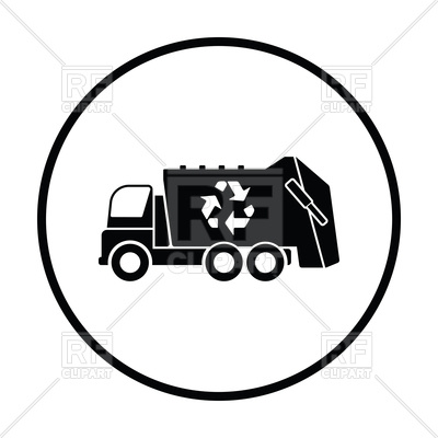 400x400 Silhouette Of Garbage Truck With Recycle Icon Royalty Free Vector