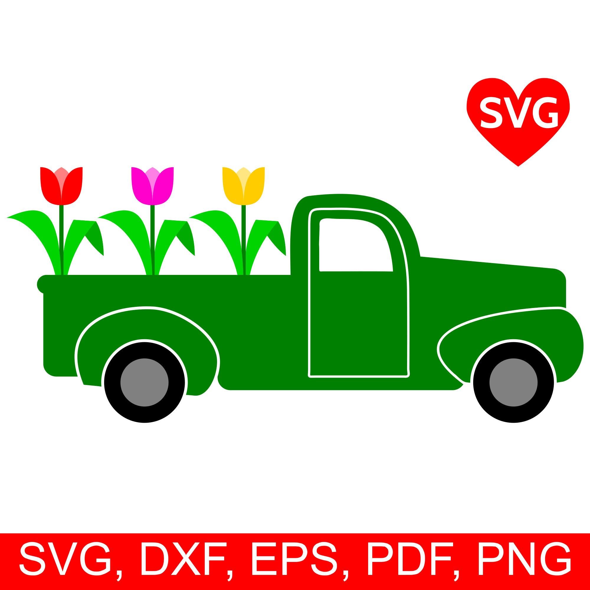 2000x2000 Spring Truck Svg File For Cricut And Silhouette, Spring Truck