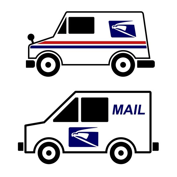 600x600 Mail Truck Cuttable Design Cut File. Vector, Clipart, Digital