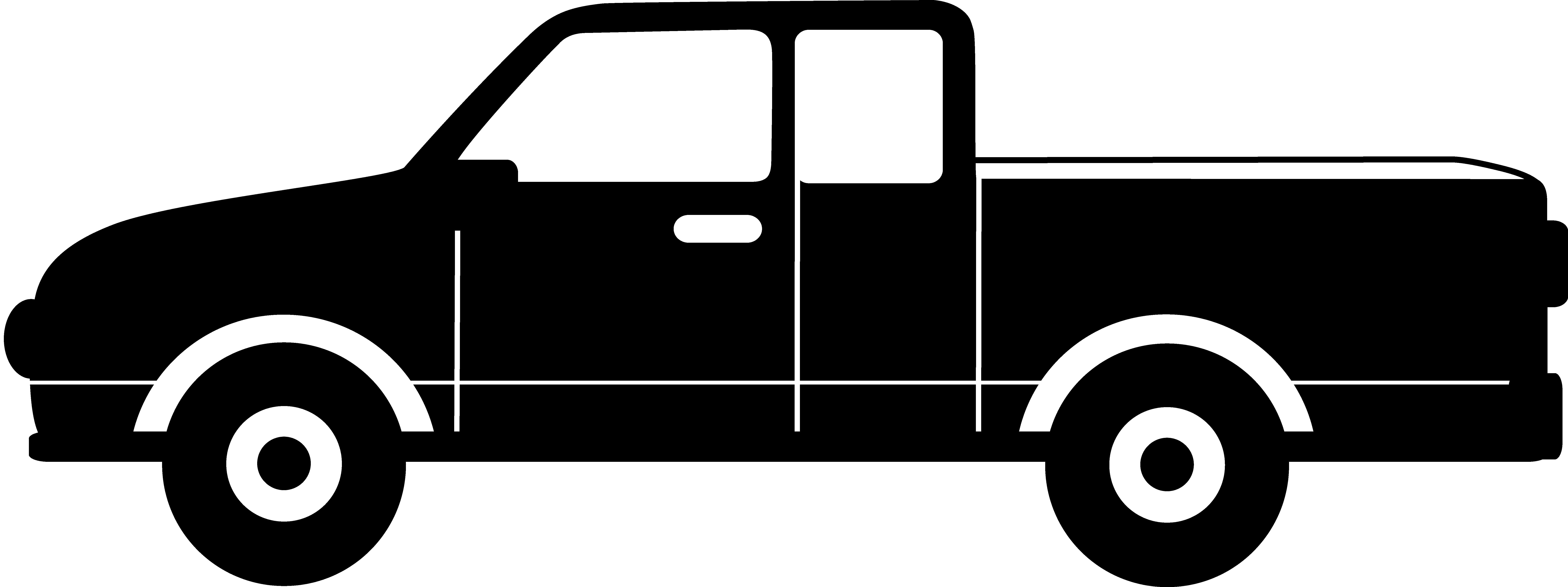 8572x3212 Black Pickup Truck Silhouette