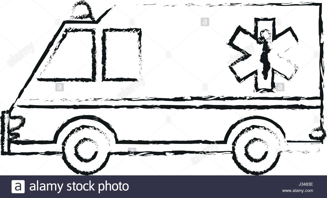 1300x787 Black Blurred Silhouette Cartoon Ambulance Truck With Medical