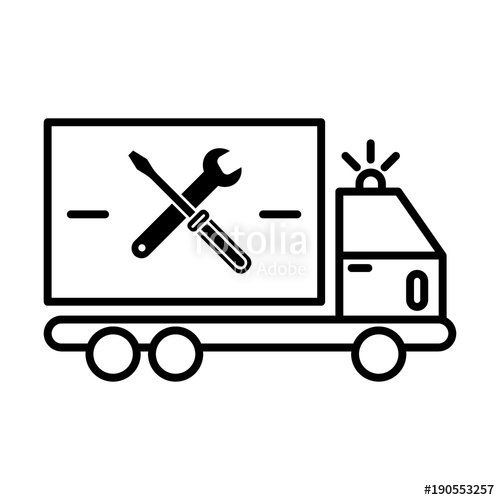 500x500 Repair Sign Of Auto Service With Truck And Spanner Silhouette