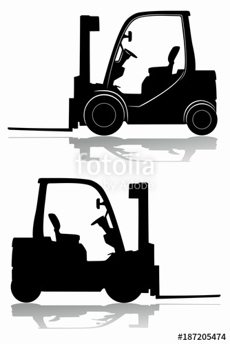 334x500 Silhouette Of A Forklift. Vector Drawing Stock Image And Royalty
