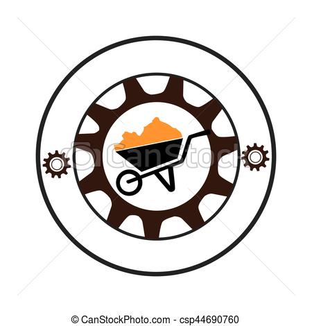 450x470 Circular Shape With Gear With Silhouette Cartor Truck For Clip