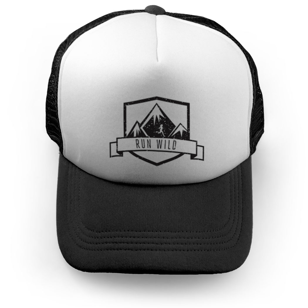 1050x1050 Running Trucker Hat Run Wild Badge Female Silhouette Running