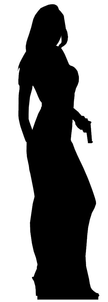 379x1054 Secret Agent James Bond Silhouette Style Cardboard Cutout Great