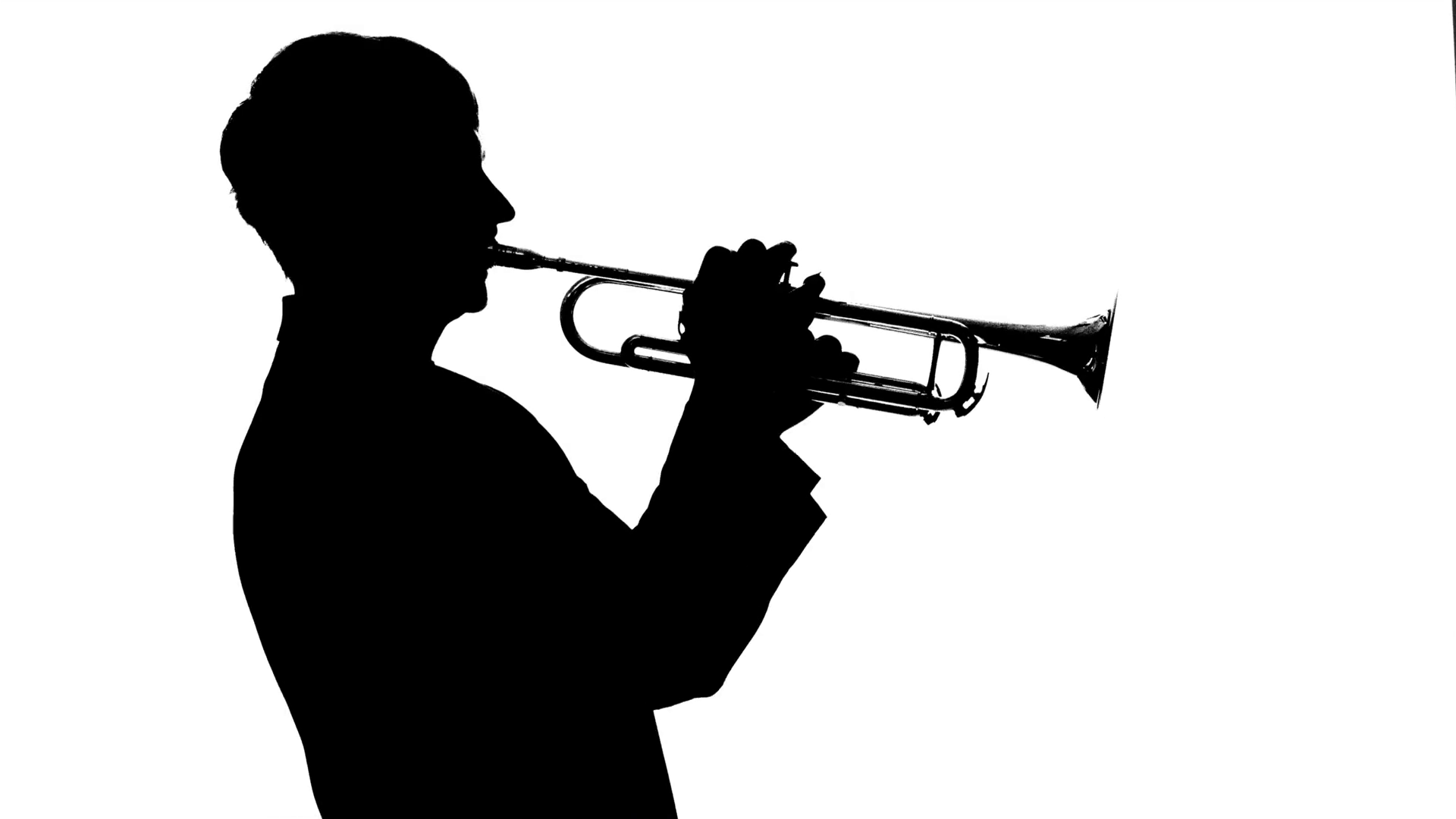 1920x1080 Musician Fast Playing Trumpet In A Studio. Silhouette Stock Video