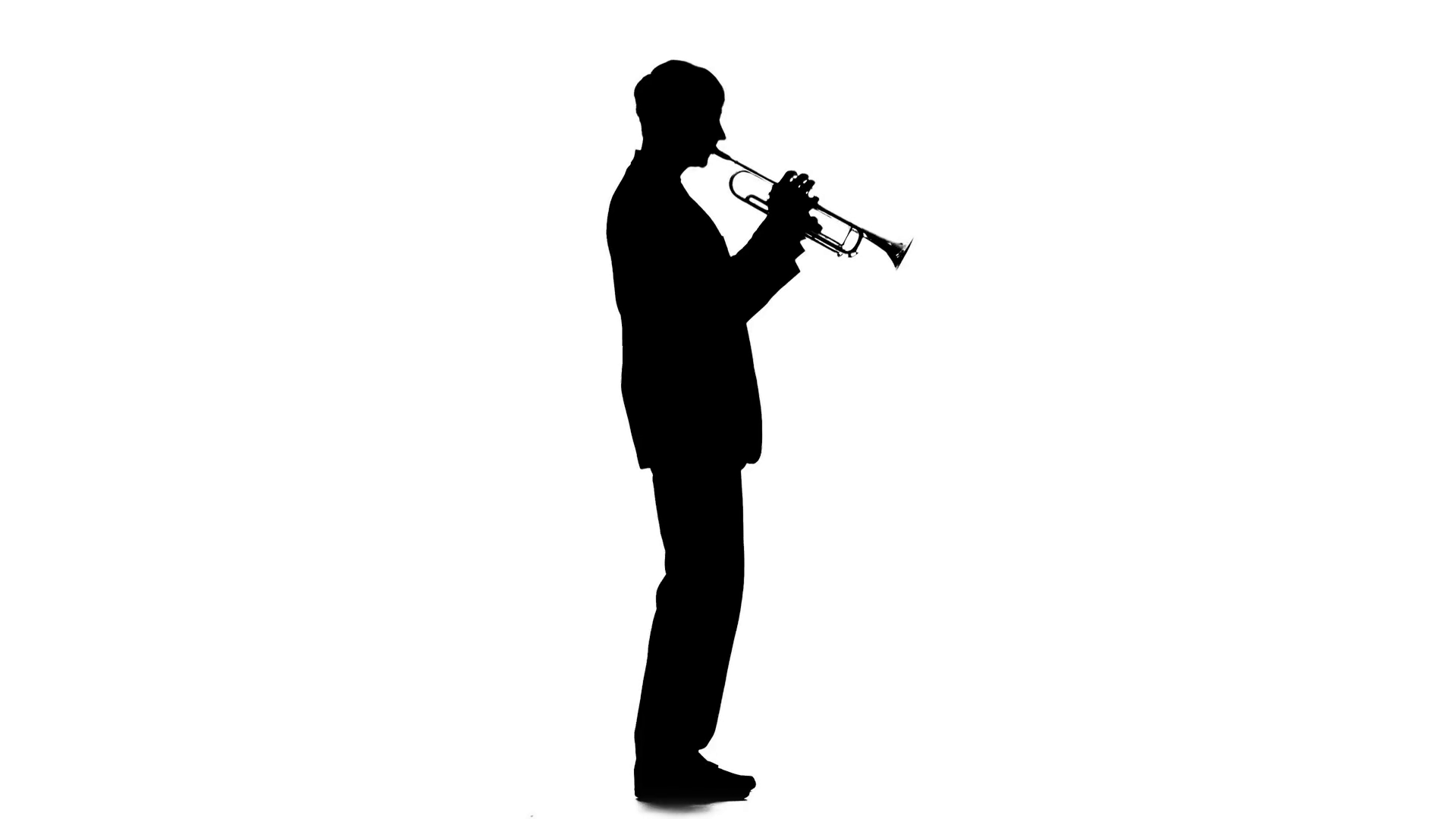 1920x1080 Musician Playing Trumpet Dancing To The Melody. Silhouette Stock