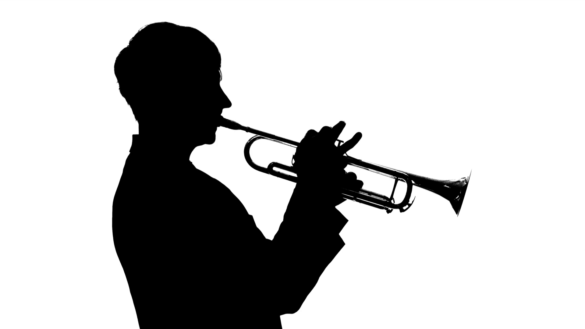 1920x1080 Silhouette. Musician Slowly Playing Trumpet In A Studio Stock