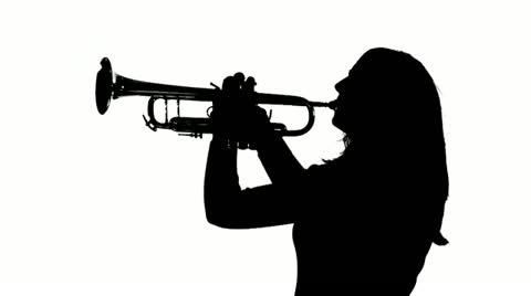480x268 Stock Video Trumpet Girl Silhouette Ms ~